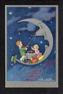 Illustrateur ( V ) / Dessin Signé Wastelli Ou Vlastelli / Bonne Année / Enfants,lune - Unclassified
