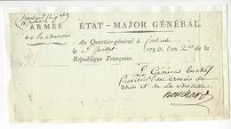 Jean Nicolas Houchard (1738-1793) GENERAL REVOLUTION AUTOGRAPHE ORIGINAL AUTOGRAPH 1793 /FREE SHIP. R - Autographs
