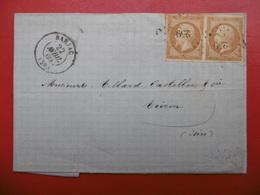 PC 259 PAIRE TIMBRE NAPOLEON 10 C CACHET BARJAC LETTRE VIA VOIRON  1860 - Marcophilie (Lettres)
