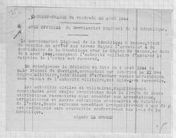 810241 Papier OUEST FRANCE 1944 Avis Officiel Du Commissariat Region LE GORGEU - Historical Documents