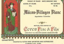 Etiquette Maçon Villages Blanc Coron Pere Et Fils - Bourgogne
