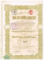 Bon De Caisse - Sté Anonyme Des Charbonnages De Ham-Sur-Sambre & Moustier - Titre De 1922 - N° 06364 - Mines