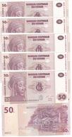 Congo DR - 5 Pcs X 50 Francs 2013 UNC Lemberg-Zp - Congo