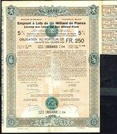 BE - Emprunt à Lots De Un Milliard De Francs - Obligation Au Porteur De 250,- Fr. - Shareholdings