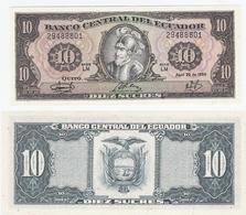 Ecuador  P. 121 10 Sucres 29.04.1986 LM 29488801 UNC - Ecuador