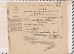 810233 CHEMINS DE FER MIDI AVIS DE SOUFFRANCE 1919 MILLAS - Transportation Tickets