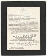Doodsbrief Jozef BAEKEN Echtg. Moeremans Neerlinter 1883 Willebroek 1956 ( Familiën Bollens Eeraerts) - Décès