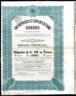 BE - Entreprises Et Exploitations Sucrières - - Obligation  De 500,- Fr Au Porteur - 30.000 EA - 1923. - Asie