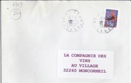 ADHESIF TP N°240 SUR LETTRE DE 2008/09 - France
