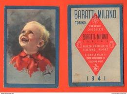 Calendarietto Di Guerra 1941 Caramelle Cioccolato Torino Caffè Baratti & Milano Calendario - Calendari