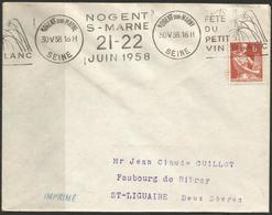 Env. - Fête Du Petit Vin Blanc - Nogent Sur Marne 21-22- Juin 1958 - Marcophilie (Lettres)