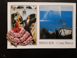 Carte Avec Robe Tissu , Brodée,  COSTUME FOLKLORE DANSE , Benidorm, Costa Blanca , Espana,  TTB - Embroidered