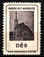 Dej Dés Cathedral Church - Occupation Revisionism WW1 Romania Hungary Transylvania Vignette Label Cinderella - Transylvanie