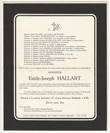 Faire-part Décès Emile Joseph HALLART Marquillies 1876 Schaerbeek 1956 (Familles De Buyser Van Migro) - Décès
