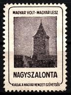 Nagyszalonta Salonta Ciunt Tower Occupation Revisionism WW1 Romania Hungary Transylvania - Vignette Label Cinderella - Transylvanie