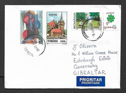 ROMANIA TO GIBRALTAR 2007 COVER TIED WITH DIVERSE STAMPS - 1948-.... Republics