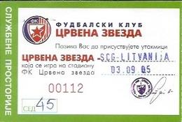 Sport Ticket UL000561 - Football (Soccer / Calcio) Serbia & Montenegro Vs Lithuania: 2005-09-03 - Tickets D'entrée
