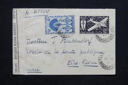 MADAGASCAR - Enveloppe De Tananarive Pour La Tunisie En 1944 Avec Contrôle Postal , Affranchissement Plaisant - L 24560 - Madagascar (1889-1960)