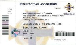 Sport Ticket UL000580 - Football (Soccer / Calcio) Northern Ireland Vs Croatia: 2016-11-15 - Tickets D'entrée