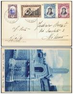 V6592 SAN MARINO 1935 Cartolina Illustrata Con 2 Val. Delfico + Fondaz. Fascio + Veduta, Da San Marino 2.4.35, - Saint-Marin