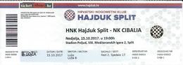 Sport Ticket UL000585 - Football (Soccer / Calcio) Hajduk Split Vs Cibalia Vinkovci: 2017-10-15 - Tickets D'entrée