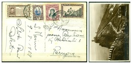 V6751 SAN MARINO 1939 Cartolina Illustrata Affrancata Con 4 Diversi Valori, 9.8.39 Per Perugia, Ottime Condizioni - Saint-Marin