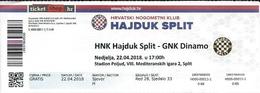 Sport Ticket UL000588 - Football (Soccer / Calcio) Hajduk Split Vs Dinamo Zagreb: 2018-04-22 - Tickets D'entrée