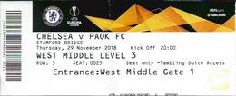 Sport Ticket UL000592 - Football (Soccer / Calcio) Chelsea Vs PAOK: 2018-11-29 - Tickets D'entrée