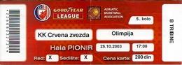 Sport Ticket UL000595 - Basketball Crvena Zvezda (Red Star Belgrade) Vs Olimpija Ljubljana: 2003-10-25 - Tickets D'entrée