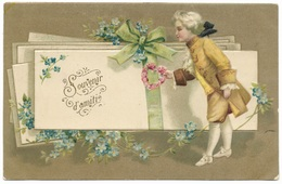 Souvenir D'amité - Postmark 1907 - Heart Of Flowers, Forget-me-nots, Embossed - Postcards