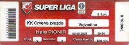 Sport Ticket UL000597 - Basketball Crvena Zvezda (Red Star Belgrade) Vs Vojvodina Novi Sad: 2004-05-08 - Tickets D'entrée