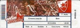 Sport Ticket UL000598 - Basketball Crvena Zvezda (Red Star Belgrade) 2004-12-28 - Tickets D'entrée