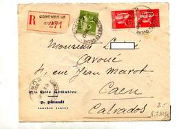 Lettre  Recommandee Conches Sur Paix - Marcophilie (Lettres)