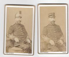 2 Photos Commandant  , Avec Casque Et Képi , LUÇON , PHOTO PIARD HUMBERT - Guerre, Militaire
