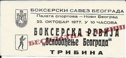 Sport Ticket UL000601 - Boxing Belgrade 1977-10-23 - Tickets D'entrée