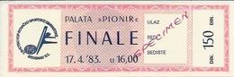 Sport Ticket UL000603 - Rhythmic Gymnastics Yugoslavia Serbia Belgrade 1983-04-17 - Tickets D'entrée