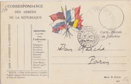 """Carte FM """"6 Drapeaux"""" Modèle B*D Du Corps D'Armées D'Alexandrie (à Bord Du J. Ferry)le 18/10/15 Pour Paris - Entiers Postaux"""