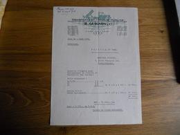 FACTURE AVON FONTAINEBLEAU R GUIGNON TRANSPORTS ET TRAVAUX PUBLICS  27  AVENUE F ROOSEVELT  1956 EXC ETAT - France