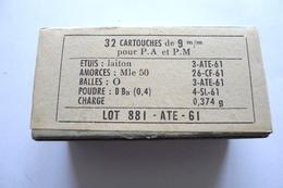 BOITE DE 32 CARTOUCHES DE 9MM POUR PA ET PM DE 1961 NEUTRALISÉES - Armes Neutralisées