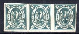 Y577 - BOLIVIA 1867 CONDOR , Splendida Striscia Di Tre Esemplari. Firmata RAYBAUDI - Bolivia