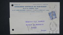 Sur Carte Maison G. Thomas Agen Semeuse Perforé GT 134 ( Ancoper ) Pour Vittel 1930 - France