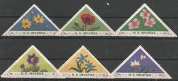 HR 1949 FLORA, CROATIA HRVATSKA- EMISSONE IN EXILIO, 1 X 6v, MNH - Croatie