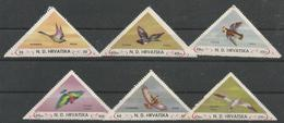HR 1949 BIRDS, CROATIA HRVATSKA- EMISSONE IN EXILIO, 1 X 6v, MNH - Croatie