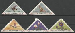 HR 1949 BIRDS FLOWER LOT, CROATIA HRVATSKA- EMISSONE IN EXILIO, 1 X 5v, MNH - Kroatien