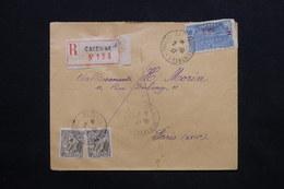 GUYANE - Enveloppe En Recommandé De Cayenne Pour Paris En 1937 , Affranchissement Plaisant - L 24585 - Guyane Française (1886-1949)