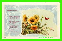 FLEURS - FLOWERS - LANGUAGE OF  FLOWERS - THESE SUNFLOWERS OF GOLD BREATHE - C. PRESTON-WYNNE - TRAVEL IN 1908 - - Fleurs