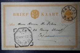 Orange Free State Postcard  P20 Parijs -> Bloemfontijn -> Capetown 1892 - Stato Libero Dell'Orange (1868-1909)