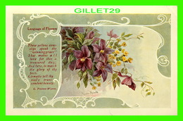 FLEURS - FLOWERS - LANGUAGE OF  FLOWERS - THESE YELLOW COWSLIPS & CLEMATIS - C. PRESTON-WYNNE - TRAVEL IN 1908 - - Fleurs