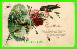FLEURS - FLOWERS - BIRD - BEST WISHES -  TRAVEL  FROM BRUNSWICK, MAINE - Fleurs