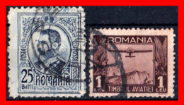 RUMANIA  -- ROMANIA -- R.P. ROMINA ( EUROPA ) SELLOS 1908 AND 1931 KING KARL I  --  AIRPLANE  ( Usados ) - Aéreo